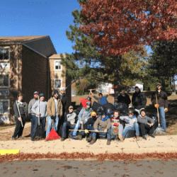 Sigma Pi Alpha Iota Chapter leaf cleanup